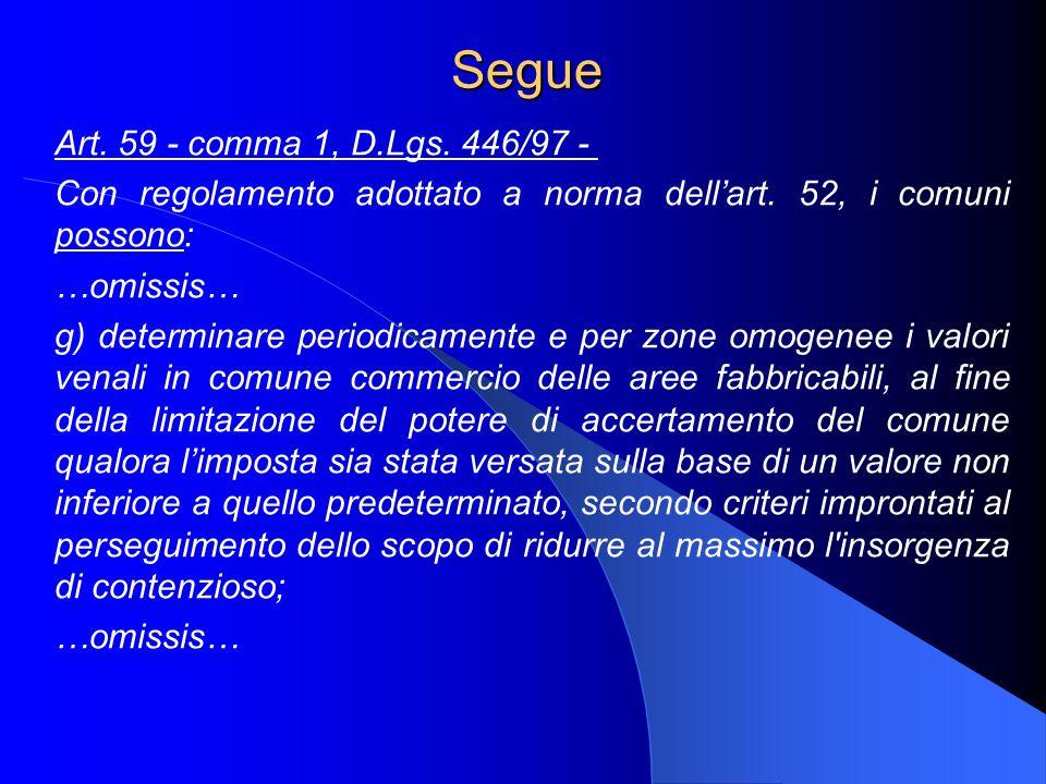 Segue Art. 59 - comma 1, D.Lgs. 446/97 - Con regolamento adottato a norma dellart. 52, i comuni possono: …omissis… g) determinare periodicamente e per