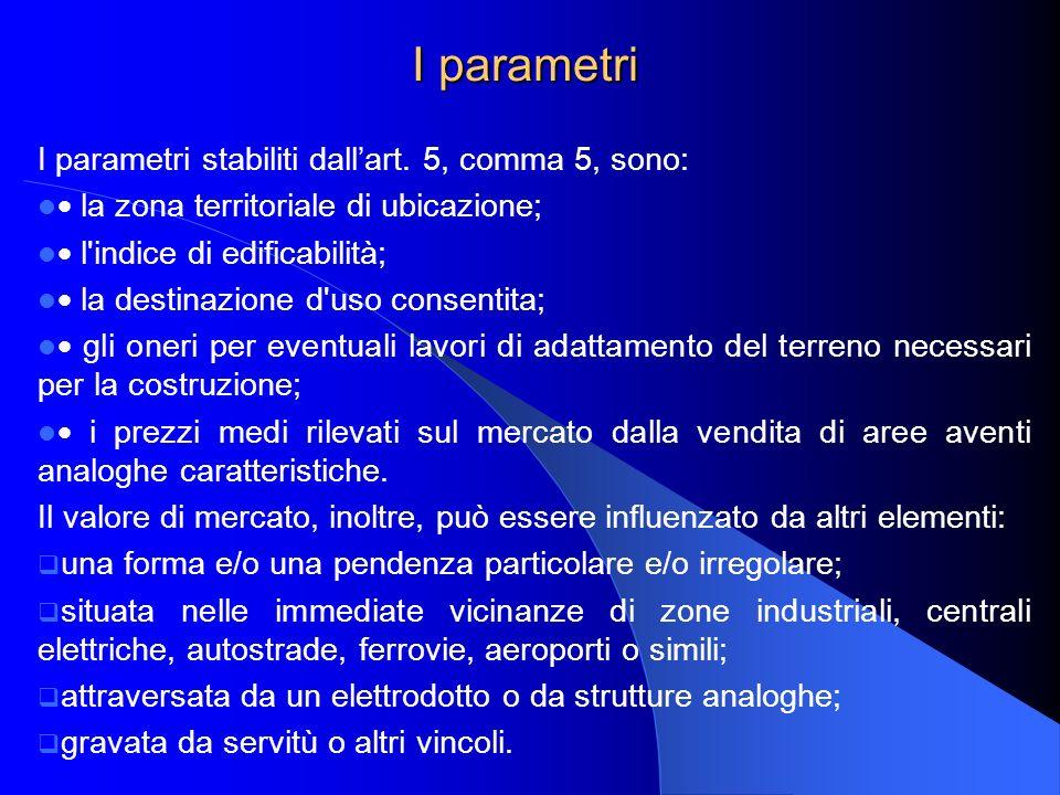 I parametri I parametri stabiliti dallart. 5, comma 5, sono: la zona territoriale di ubicazione; l'indice di edificabilità; la destinazione d'uso cons