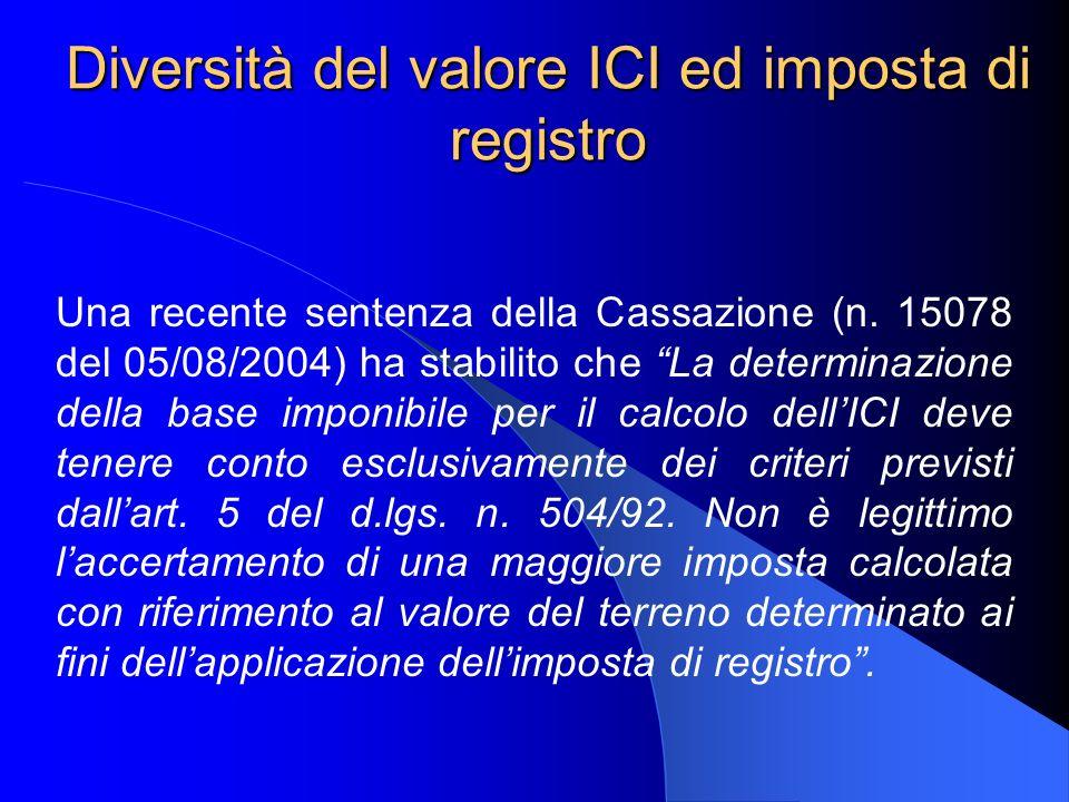 Diversità del valore ICI ed imposta di registro Una recente sentenza della Cassazione (n. 15078 del 05/08/2004) ha stabilito che La determinazione del