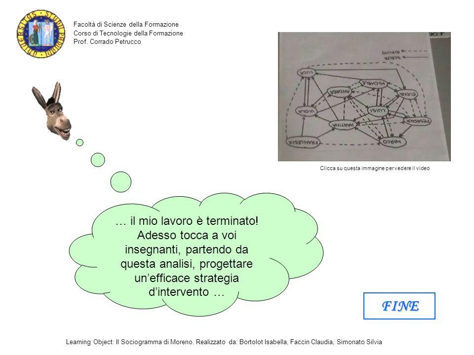 Facoltà di Scienze della Formazione Corso di Tecnologie della Formazione Prof. Corrado Petrucco Learning Object: Il Sociogramma di Moreno. Realizzato