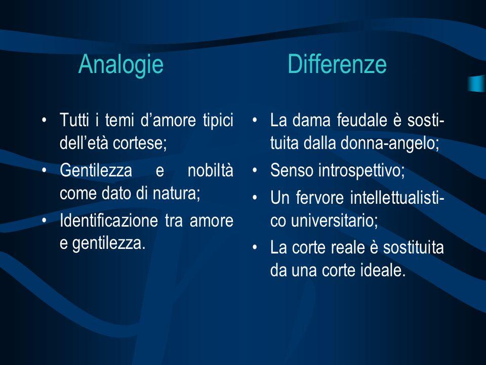Analogie Differenze Tutti i temi damore tipici delletà cortese; Gentilezza e nobiltà come dato di natura; Identificazione tra amore e gentilezza. La d