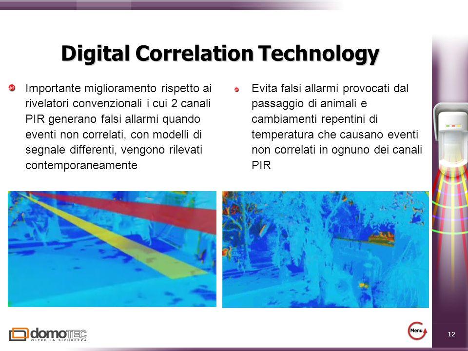 12 Digital Correlation Technology Importante miglioramento rispetto ai rivelatori convenzionali i cui 2 canali PIR generano falsi allarmi quando event