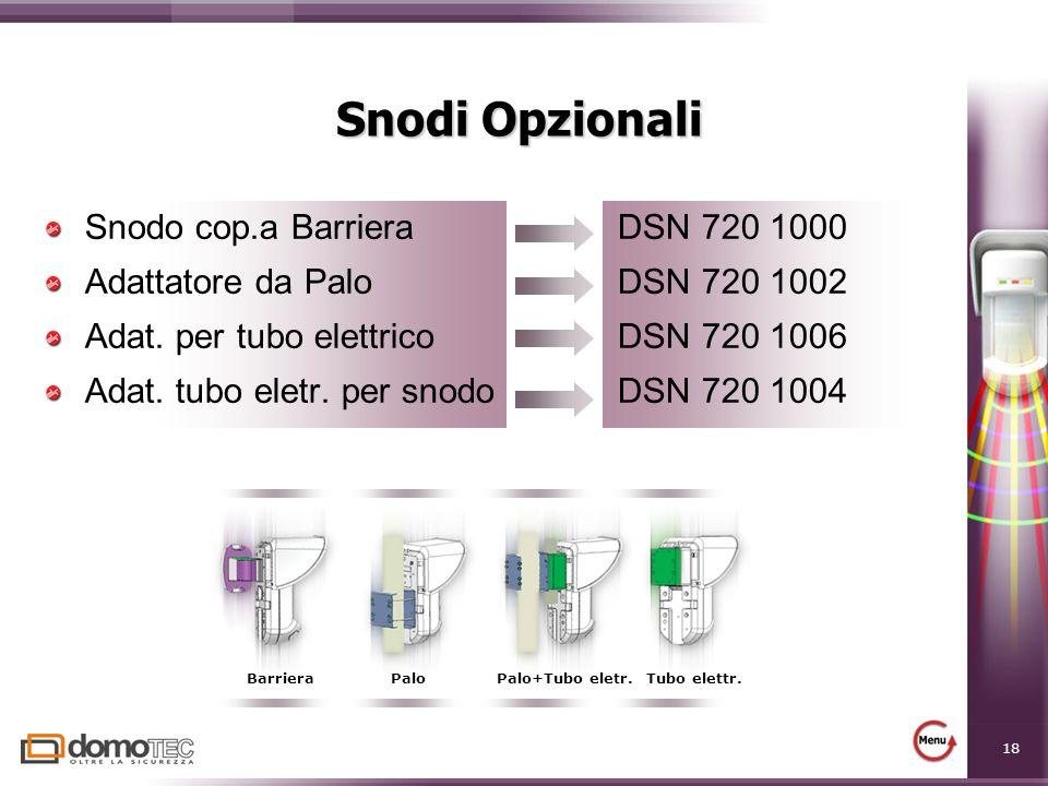 18 Snodi Opzionali Snodo cop.a Barriera DSN 720 1000 Adattatore da Palo DSN 720 1002 Adat. per tubo elettrico DSN 720 1006 Adat. tubo eletr. per snodo