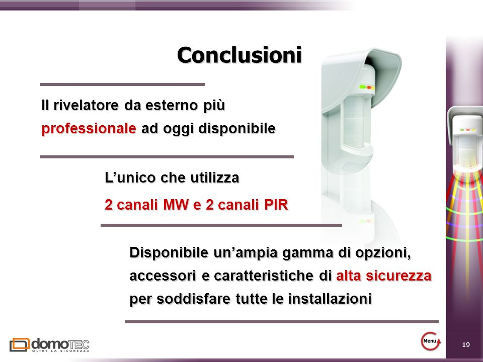 19 Conclusioni Il rivelatore da esterno più professionale ad oggi disponibile Disponibile unampia gamma di opzioni, accessori e caratteristiche di alt