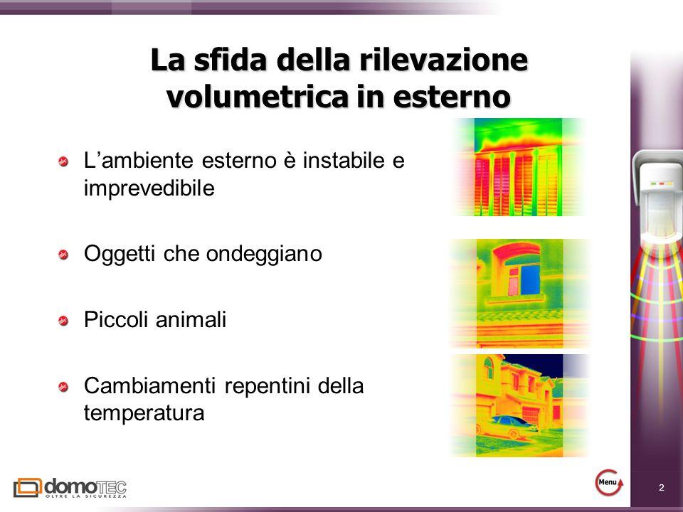 2 La sfida della rilevazione volumetrica in esterno Lambiente esterno è instabile e imprevedibile Oggetti che ondeggiano Piccoli animali Cambiamenti repentini della temperatura