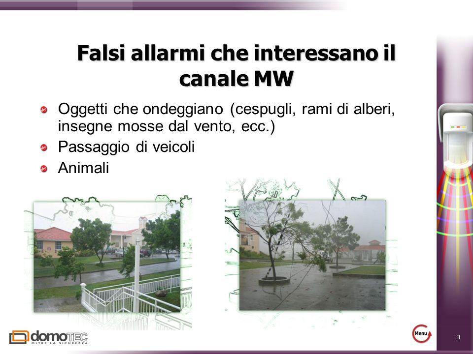 3 Falsi allarmi che interessano il canale MW Oggetti che ondeggiano (cespugli, rami di alberi, insegne mosse dal vento, ecc.) Passaggio di veicoli Animali