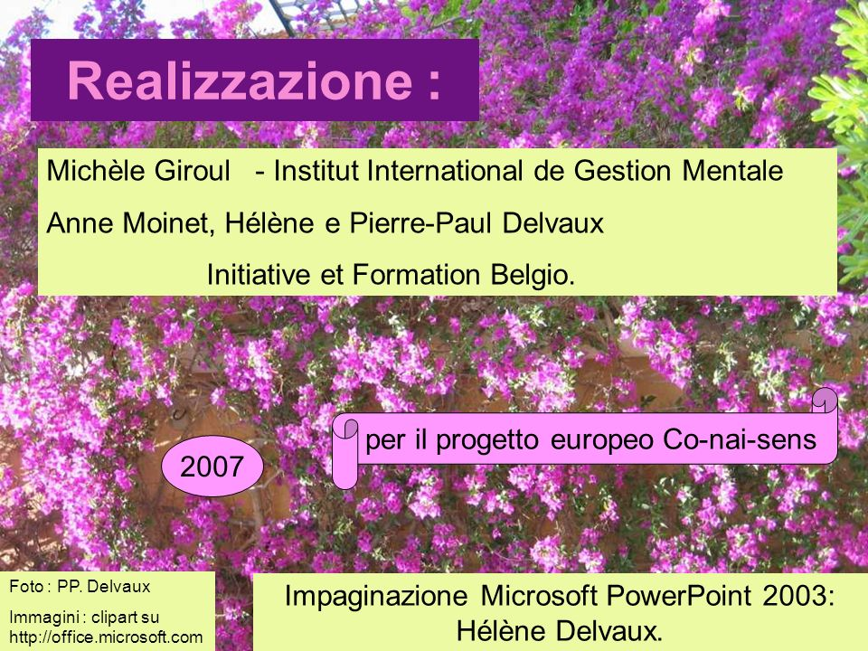 Realizzazione : Michèle Giroul - Institut International de Gestion Mentale Anne Moinet, Hélène e Pierre-Paul Delvaux Initiative et Formation Belgio.