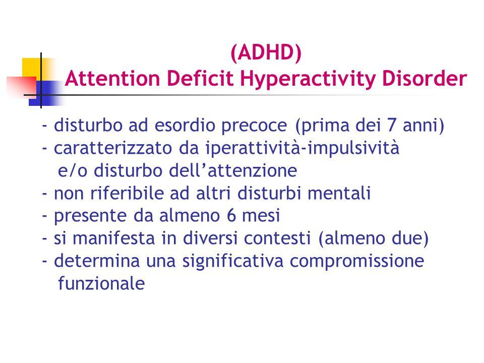 - disturbo ad esordio precoce (prima dei 7 anni) - caratterizzato da iperattività-impulsività e/o disturbo dellattenzione - non riferibile ad altri disturbi mentali - presente da almeno 6 mesi - si manifesta in diversi contesti (almeno due) - determina una significativa compromissione funzionale (ADHD) Attention Deficit Hyperactivity Disorder