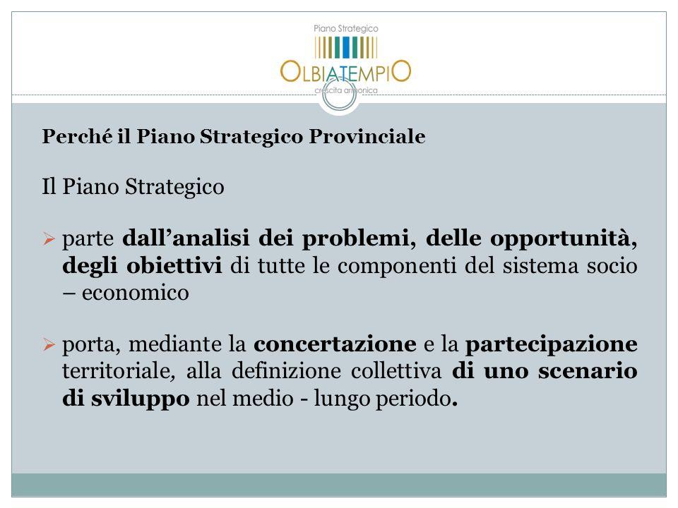 Perché il Piano Strategico Provinciale Il Piano Strategico parte dallanalisi dei problemi, delle opportunità, degli obiettivi di tutte le componenti d