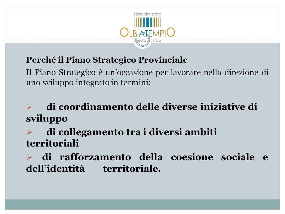 Perché il Piano Strategico Provinciale Il Piano Strategico è unoccasione per lavorare nella direzione di uno sviluppo integrato in termini: di coordinamento delle diverse iniziative di sviluppo di collegamento tra i diversi ambiti territoriali di rafforzamento della coesione sociale e dellidentità territoriale.