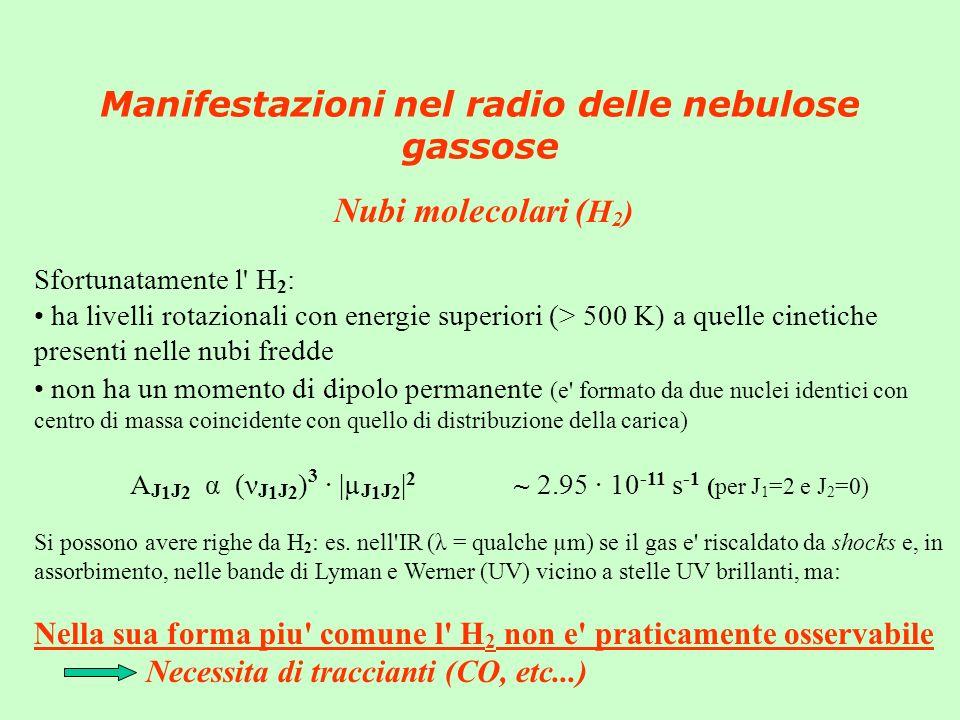 Manifestazioni nel radio delle nebulose gassose Nubi molecolari ( H 2 ) Sfortunatamente l H 2 : ha livelli rotazionali con energie superiori (> 500 K) a quelle cinetiche presenti nelle nubi fredde non ha un momento di dipolo permanente (e formato da due nuclei identici con centro di massa coincidente con quello di distribuzione della carica) A J 1 J 2 α (ν J 1 J 2 ) 3 · |µ J 1 J 2 | 2 ~ 2.95 · 10 -11 s -1 (per J 1 =2 e J 2 =0) Si possono avere righe da H 2 : es.