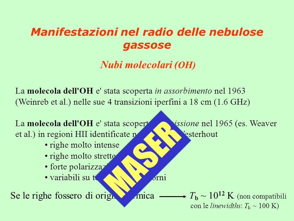Manifestazioni nel radio delle nebulose gassose Nubi molecolari ( OH) La molecola dell OH e stata scoperta in assorbimento nel 1963 (Weinreb et al.) nelle sue 4 transizioni iperfini a 18 cm (1.6 GHz) La molecola dell OH e stata scoperta in emissione nel 1965 (es.