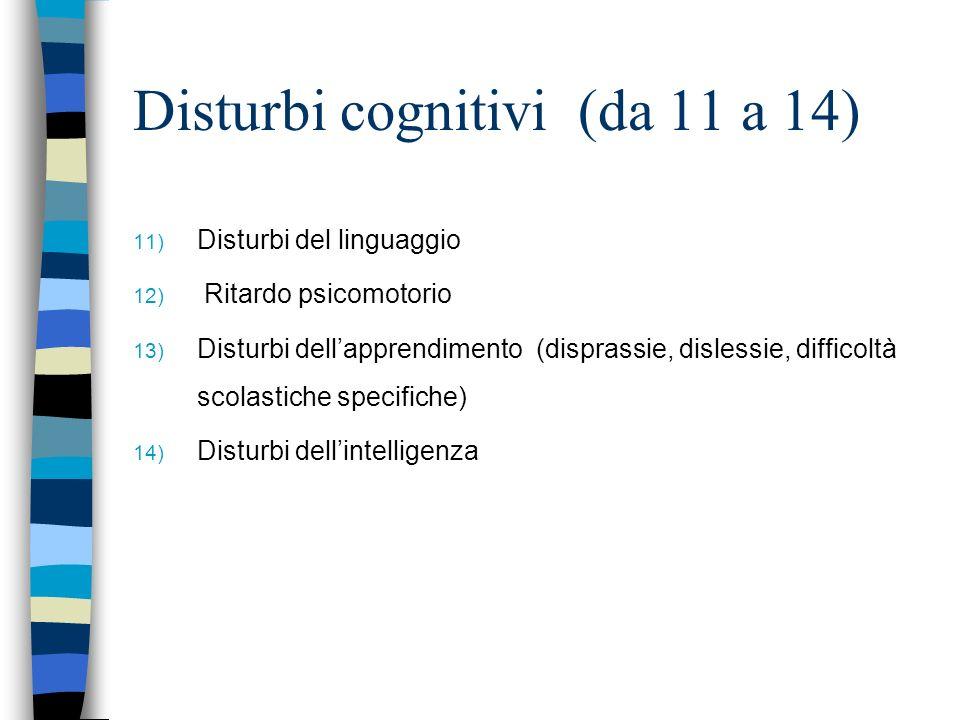 Disturbi cognitivi (da 11 a 14) 11) Disturbi del linguaggio 12) Ritardo psicomotorio 13) Disturbi dellapprendimento (disprassie, dislessie, difficoltà