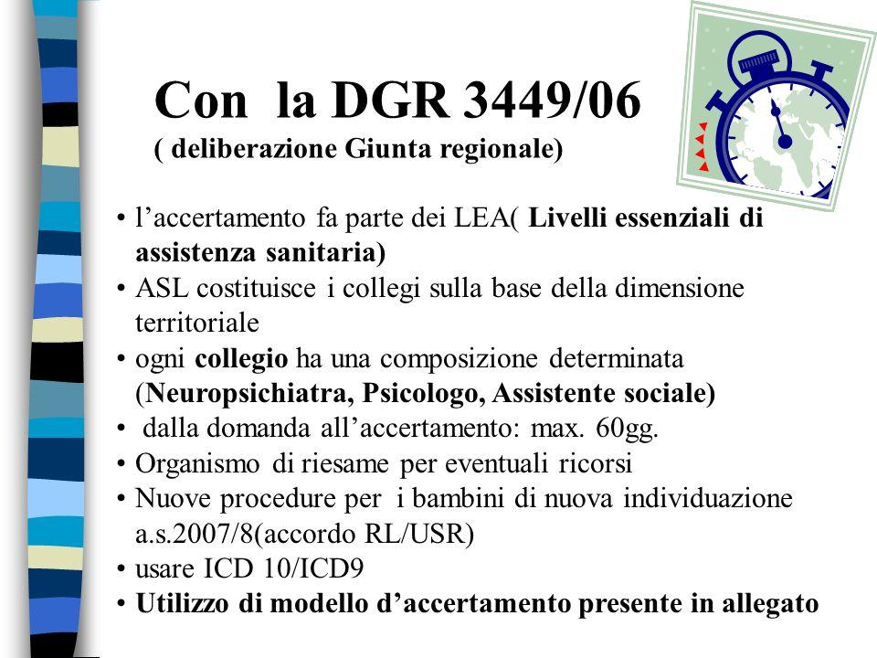 Con la DGR 3449/06 ( deliberazione Giunta regionale) laccertamento fa parte dei LEA( Livelli essenziali di assistenza sanitaria) ASL costituisce i col