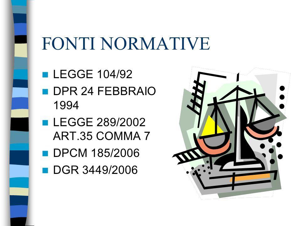 FONTI NORMATIVE LEGGE 104/92 DPR 24 FEBBRAIO 1994 LEGGE 289/2002 ART.35 COMMA 7 DPCM 185/2006 DGR 3449/2006