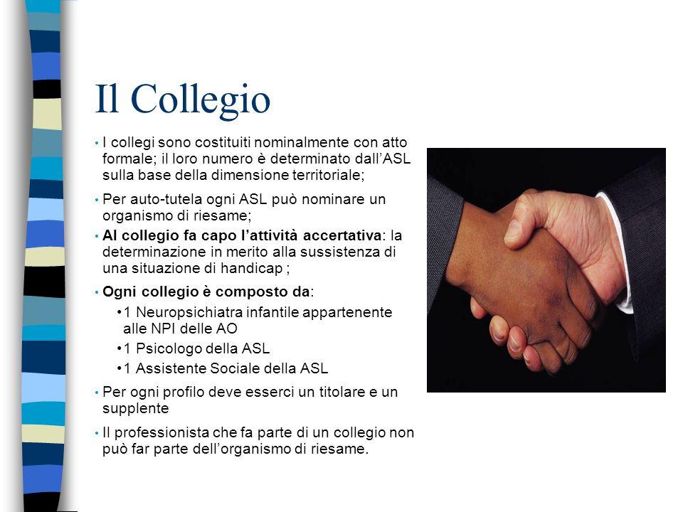 Il Collegio I collegi sono costituiti nominalmente con atto formale; il loro numero è determinato dallASL sulla base della dimensione territoriale; Pe