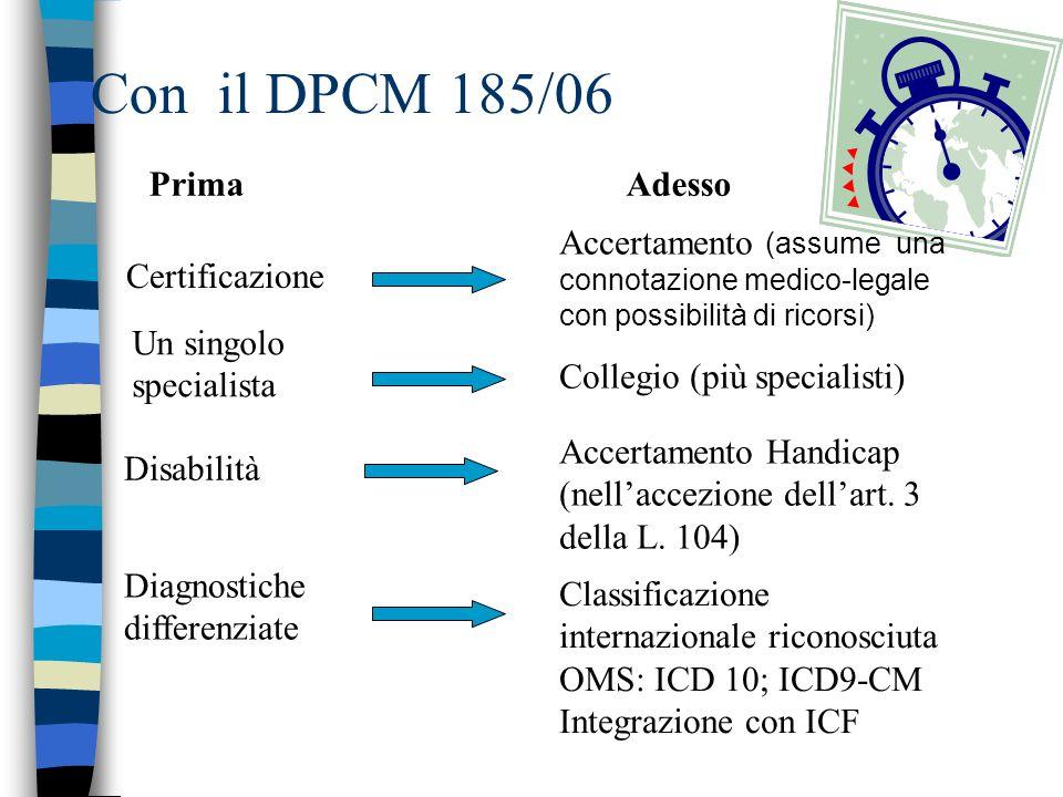 Con il DPCM 185/06 PrimaAdesso Certificazione Accertamento (assume una connotazione medico-legale con possibilità di ricorsi) Un singolo specialista C