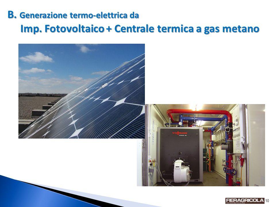10 B. Generazione termo-elettrica da Imp. Fotovoltaico + Centrale termica a gas metano FOTO
