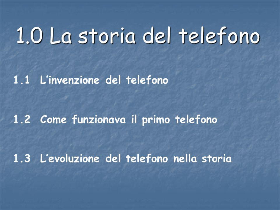 1.0 La storia del telefono 1.1 Linvenzione del telefono 1.2 Come funzionava il primo telefono 1.3 Levoluzione del telefono nella storia