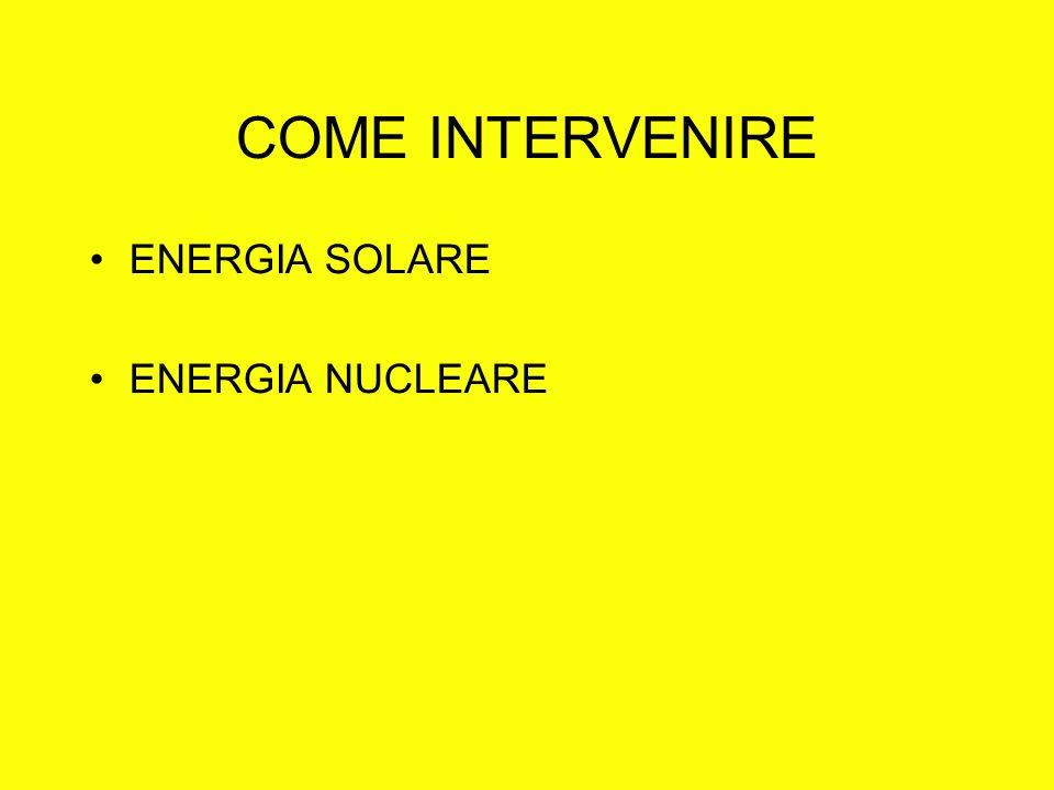 COME INTERVENIRE ENERGIA SOLARE ENERGIA NUCLEARE