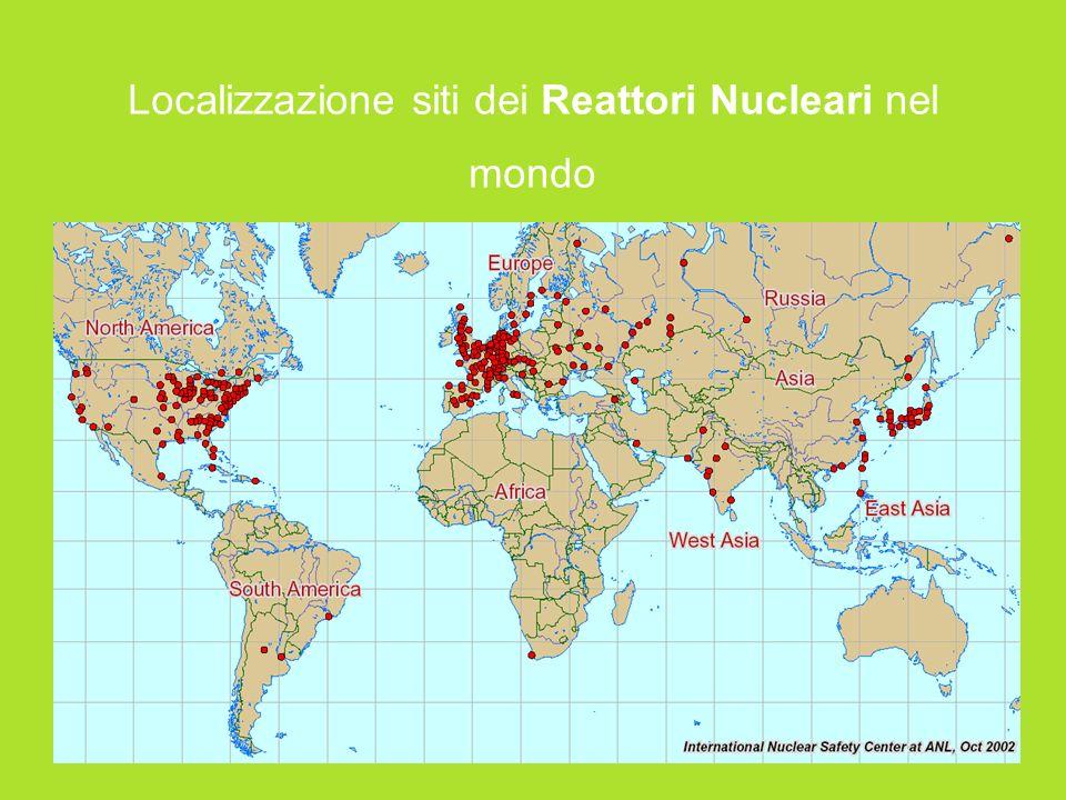 Localizzazione siti dei Reattori Nucleari nel mondo