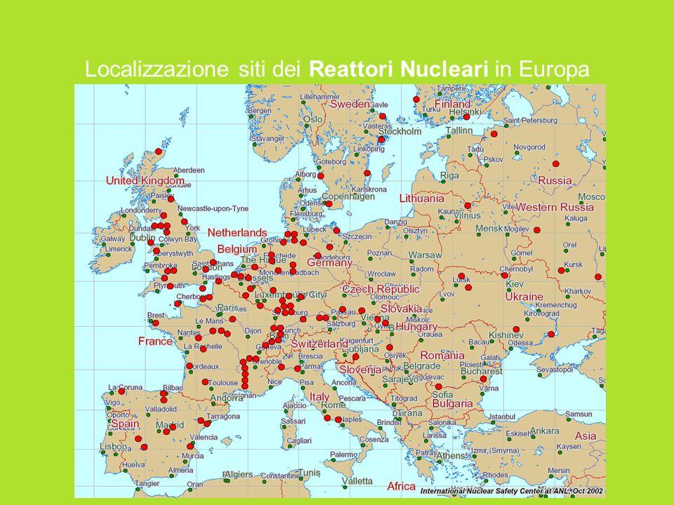 Localizzazione siti dei Reattori Nucleari in Europa