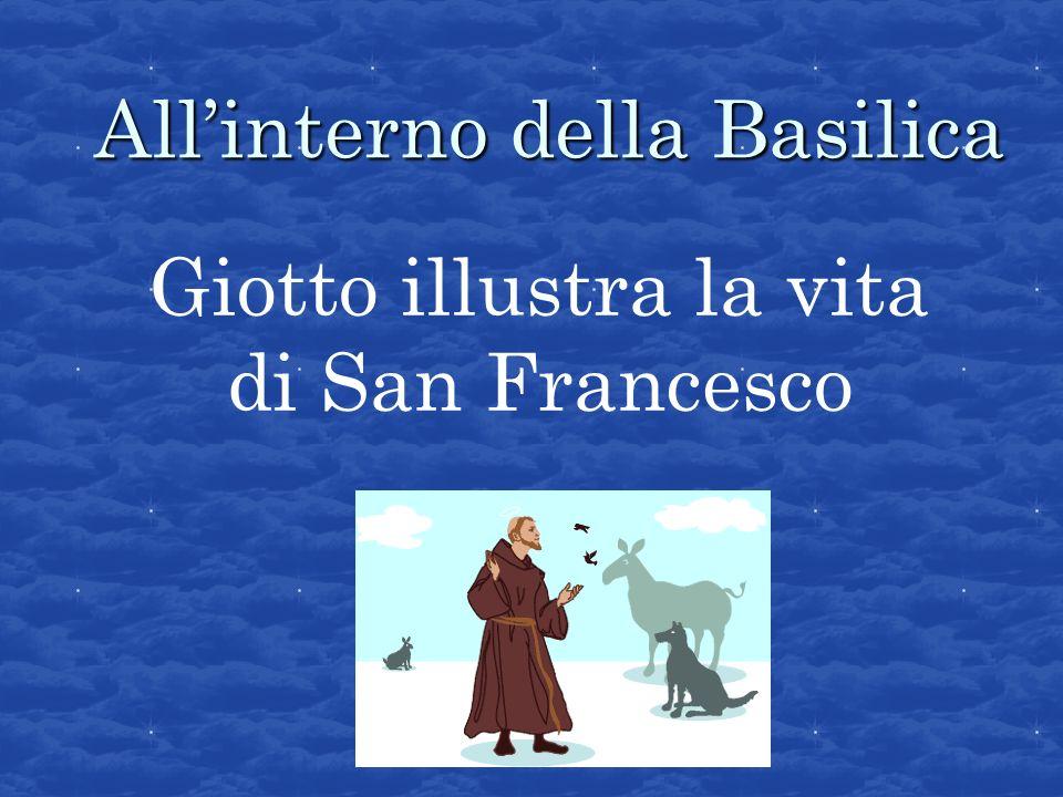 Un uomo, in segno di rispetto, stende davanti a San Francesco un mantello sulla piazza di Assisi E uno dei primi dipinti di Giotto o, secondo alcuni critici, del cosidetto Maestro di Santa Cecilia.