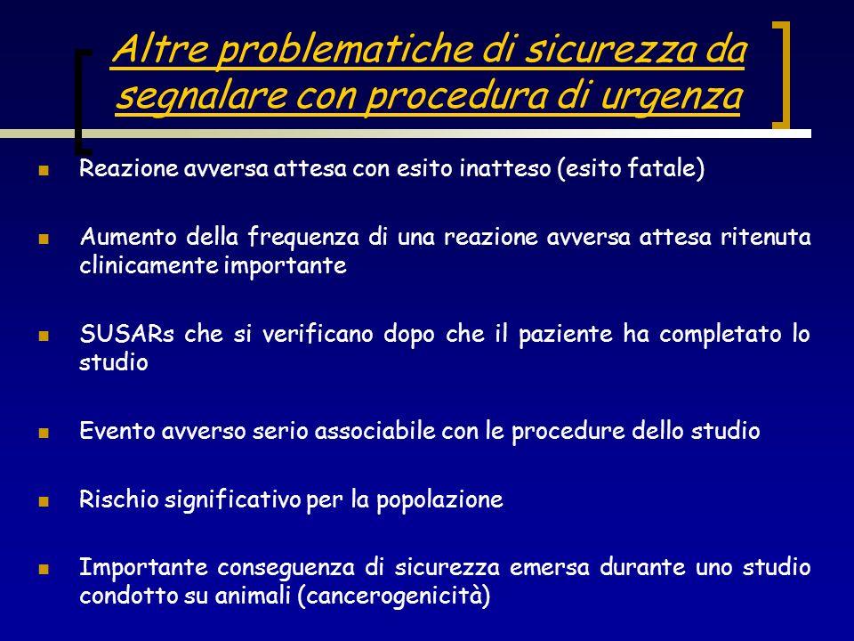 Altre problematiche di sicurezza da segnalare con procedura di urgenza Reazione avversa attesa con esito inatteso (esito fatale) Aumento della frequen
