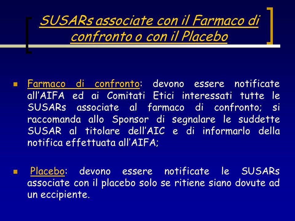 SUSARs associate con il Farmaco di confronto o con il Placebo Farmaco di confronto: devono essere notificate allAIFA ed ai Comitati Etici interessati