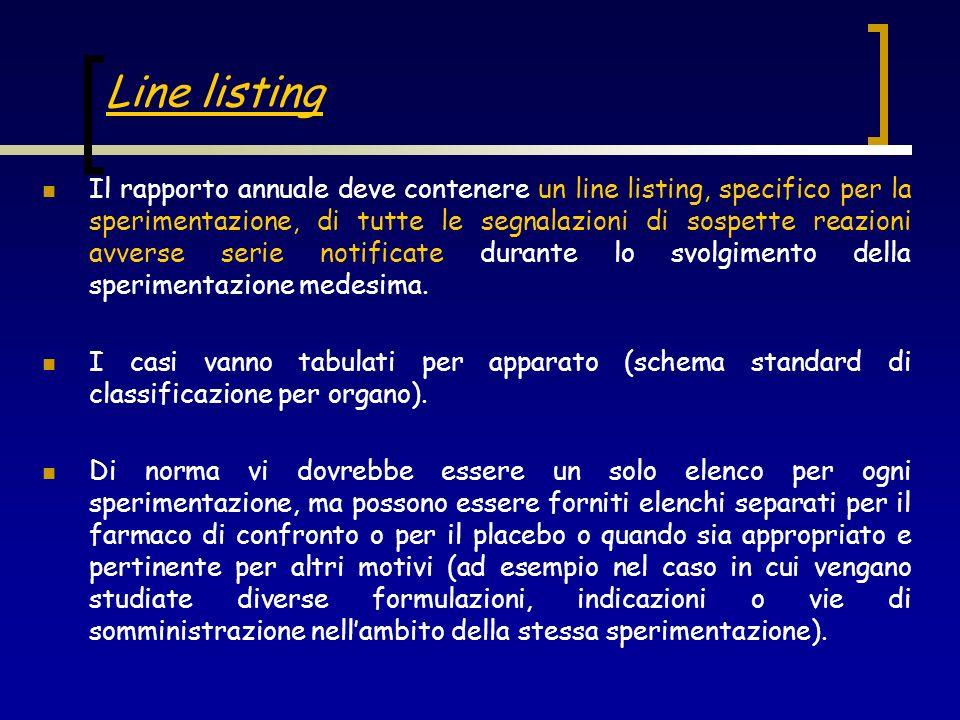 Line listing Il rapporto annuale deve contenere un line listing, specifico per la sperimentazione, di tutte le segnalazioni di sospette reazioni avver