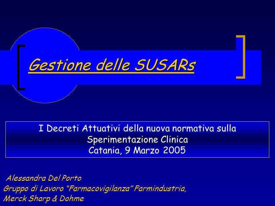 Gestione delle SUSARs Alessandra Del Porto Gruppo di Lavoro Farmacovigilanza Farmindustria, Merck Sharp & Dohme I Decreti Attuativi della nuova normat