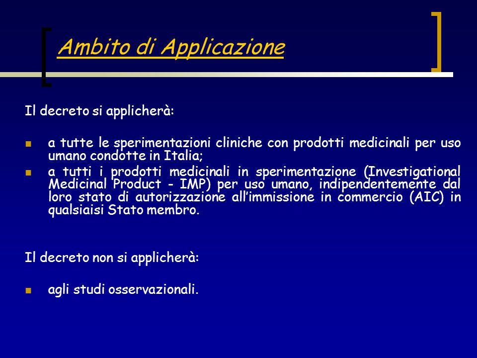 Ambito di Applicazione Il decreto si applicherà: a tutte le sperimentazioni cliniche con prodotti medicinali per uso umano condotte in Italia; a tutti