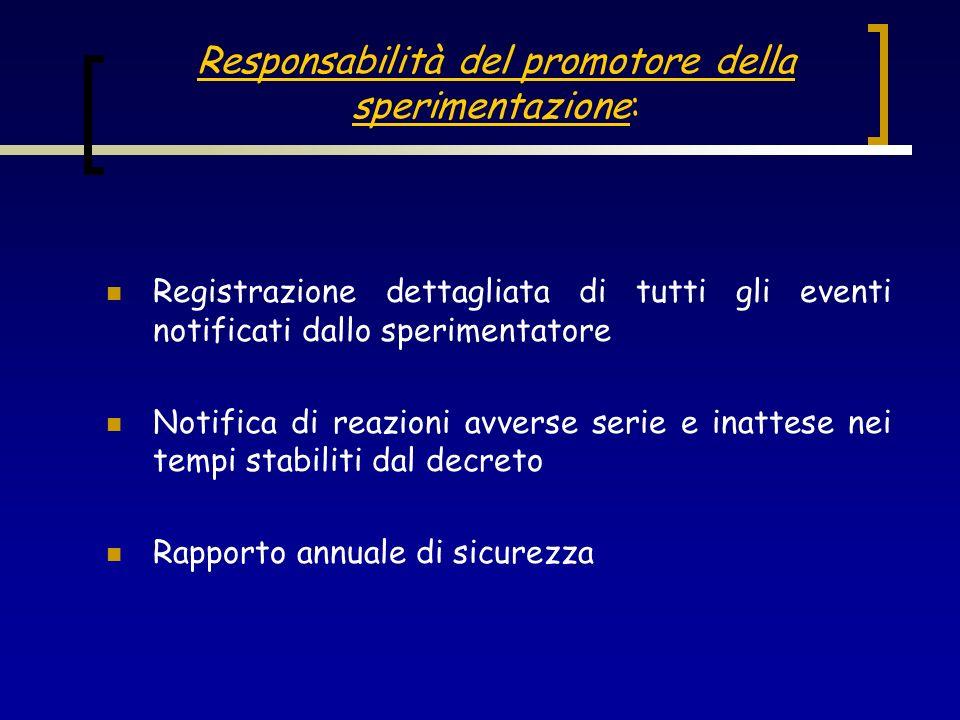 Responsabilità del promotore della sperimentazione: Registrazione dettagliata di tutti gli eventi notificati dallo sperimentatore Notifica di reazioni