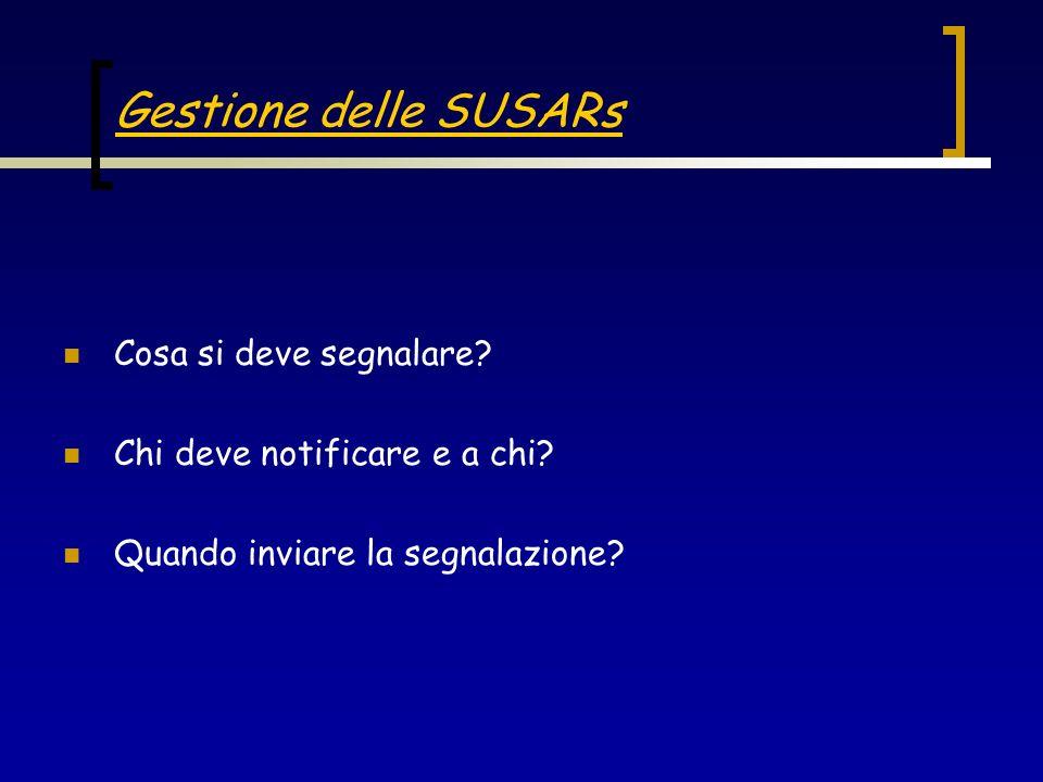 Gestione delle SUSARs Cosa si deve segnalare? Chi deve notificare e a chi? Quando inviare la segnalazione?