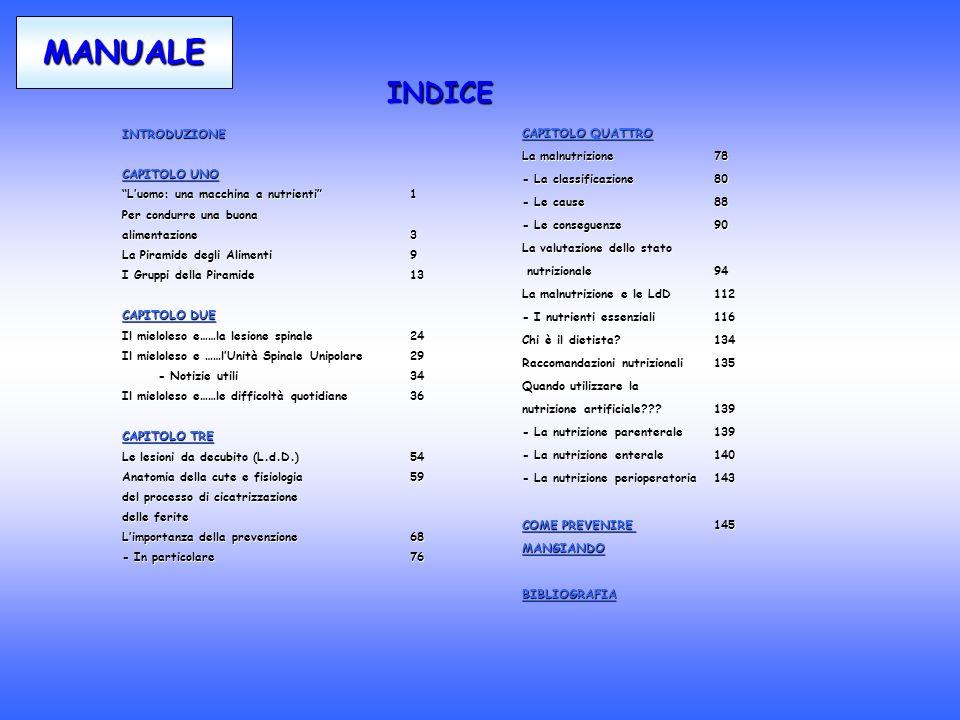 INTRODUZIONE CAPITOLO UNO Luomo: una macchina a nutrienti1Luomo: una macchina a nutrienti1 Per condurre una buona alimentazione 3 La Piramide degli Alimenti 9 I Gruppi della Piramide13 CAPITOLO DUE Il mieloleso e……la lesione spinale24 Il mieloleso e ……lUnità Spinale Unipolare29 - Notizie utili34 Il mieloleso e……le difficoltà quotidiane36 CAPITOLO TRE Le lesioni da decubito (L.d.D.)54 Anatomia della cute e fisiologia 59 del processo di cicatrizzazione delle ferite Limportanza della prevenzione68 - In particolare76 MANUALE INDICE CAPITOLO QUATTRO La malnutrizione78 - La classificazione80 - Le cause88 - Le conseguenze90 La valutazione dello stato nutrizionale94 nutrizionale94 La malnutrizione e le LdD 112 - I nutrienti essenziali 116 Chi è il dietista?134 Raccomandazioni nutrizionali135 Quando utilizzare la nutrizione artificiale???139 - La nutrizione parenterale139 - La nutrizione enterale140 - La nutrizione perioperatoria143 COME PREVENIRE 145 MANGIANDO BIBLIOGRAFIA