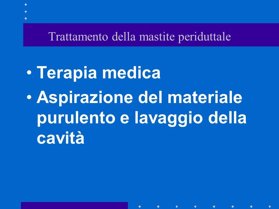 Trattamento della mastite periduttale Terapia medica Aspirazione del materiale purulento e lavaggio della cavità