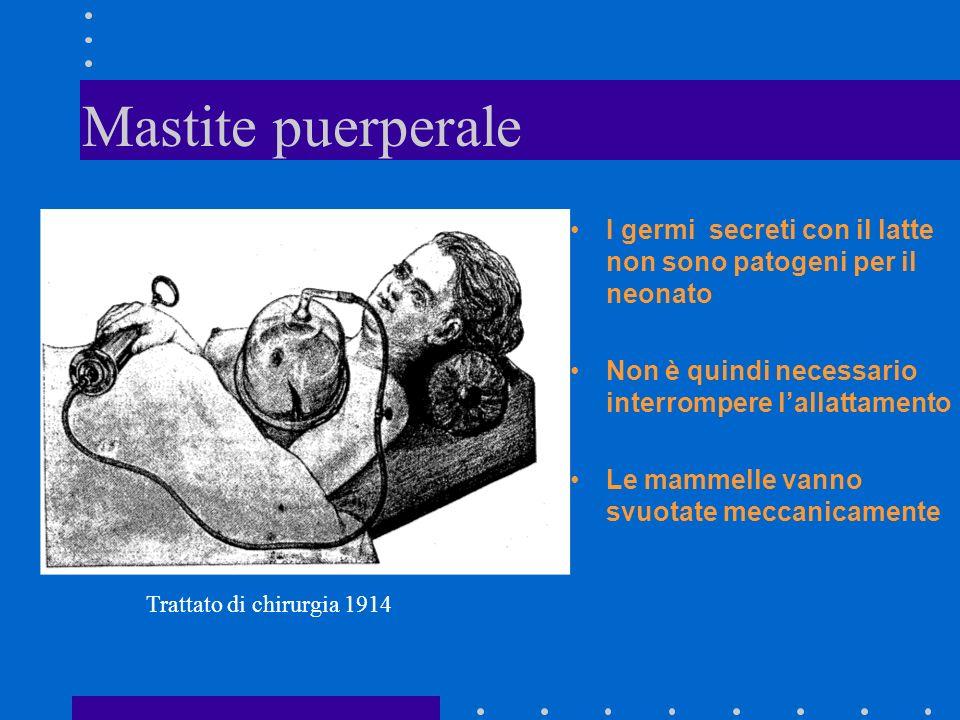 Mastite puerperale I germi secreti con il latte non sono patogeni per il neonato Non è quindi necessario interrompere lallattamento Le mammelle vanno svuotate meccanicamente Trattato di chirurgia 1914