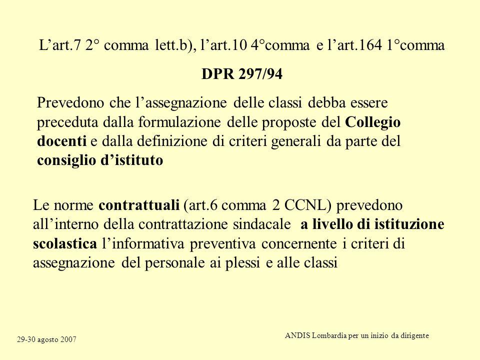 Lart.7 2° comma lett.b), lart.10 4°comma e lart.164 1°comma DPR 297/94 Prevedono che lassegnazione delle classi debba essere preceduta dalla formulazione delle proposte del Collegio docenti e dalla definizione di criteri generali da parte del consiglio distituto Le norme contrattuali (art.6 comma 2 CCNL) prevedono allinterno della contrattazione sindacale a livello di istituzione scolastica linformativa preventiva concernente i criteri di assegnazione del personale ai plessi e alle classi ANDIS Lombardia per un inizio da dirigente 29-30 agosto 2007