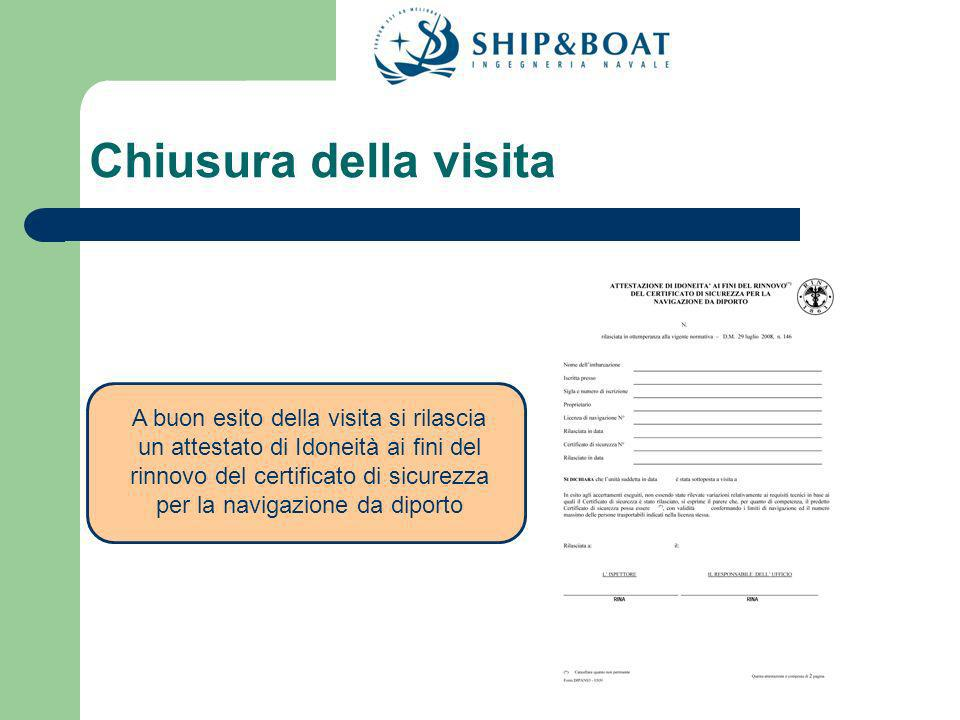 Chiusura della visita A buon esito della visita si rilascia un attestato di Idoneità ai fini del rinnovo del certificato di sicurezza per la navigazione da diporto