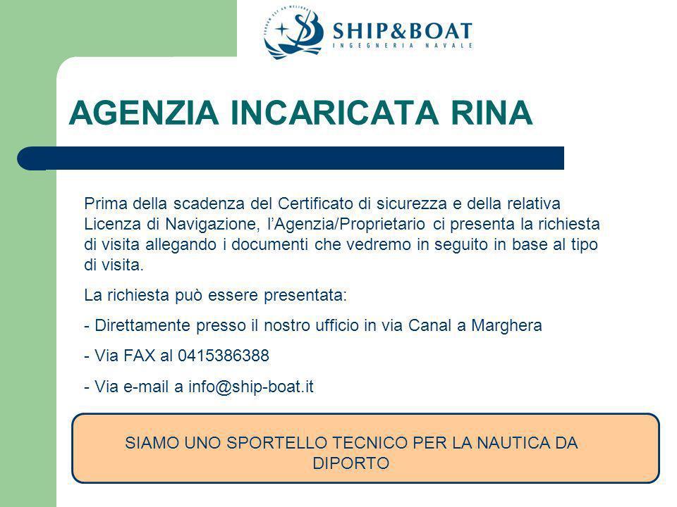 PROCEDURA DOMANDA DI VISITA DI CONVALIDA Inviare una semplice richiesta anche via FAX al numero 0415386388 o una e-mail a info@ship-boat.it IMPORTANTI DOCUMENTI DA ALLEGARE ALLA DOMANDA 1.Estremi dell AGENZIA – CONTATTI 2.Copia della Licenza di Navigazione ( Tutte le pagine) 3.Copia del Certificato di Sicurezza 4.I documenti da inviare dipendono da caso a caso.