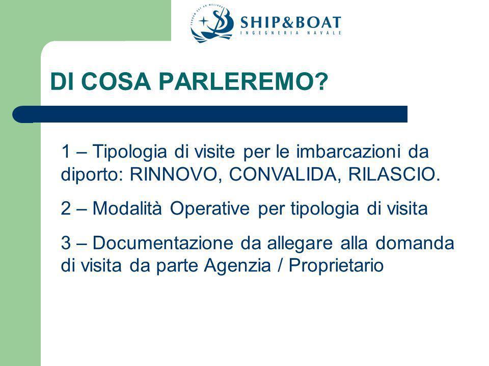 PROCEDURA DOMANDA DI VISITA DI RILASCIO ( 1° iscrizione) Inviare una semplice richiesta anche via FAX al numero 0415386388 o una e-mail a info@ship-boat.it IMPORTANTI DOCUMENTI DA ALLEGARE ALLA DOMANDA 1.Titolo di proprietà; 2.Se proviene da registri stranieri fornire la cancellazione dei rispettivi registri; 3.Fornire ogni tipo di documentazione Tecnica (se in possesso): Disegni, certificati di Enti precedenti, schemi di impianti, ecc… 4.Fornire le seguenti informazioni: NOME DELLIMBARCAZIONE, UFFICIO DI ISCRIZIONE.