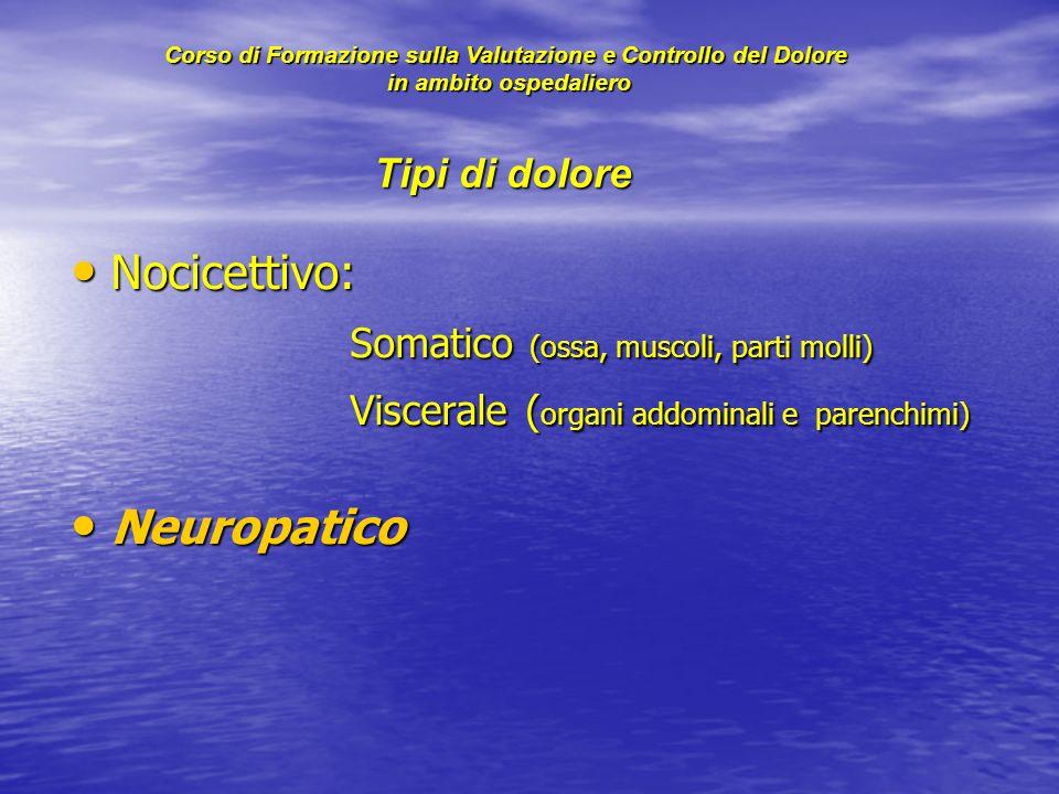 Tipi di dolore Nocicettivo: Nocicettivo: Somatico (ossa, muscoli, parti molli) Somatico (ossa, muscoli, parti molli) Viscerale ( organi addominali e p