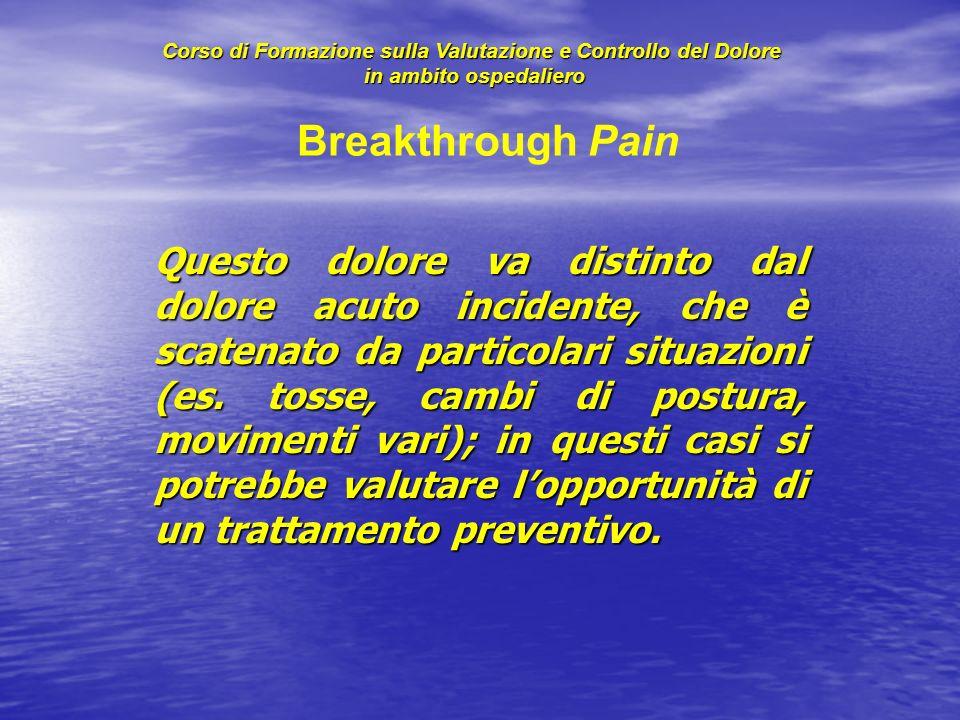 Questo dolore va distinto dal dolore acuto incidente, che è scatenato da particolari situazioni (es. tosse, cambi di postura, movimenti vari); in ques