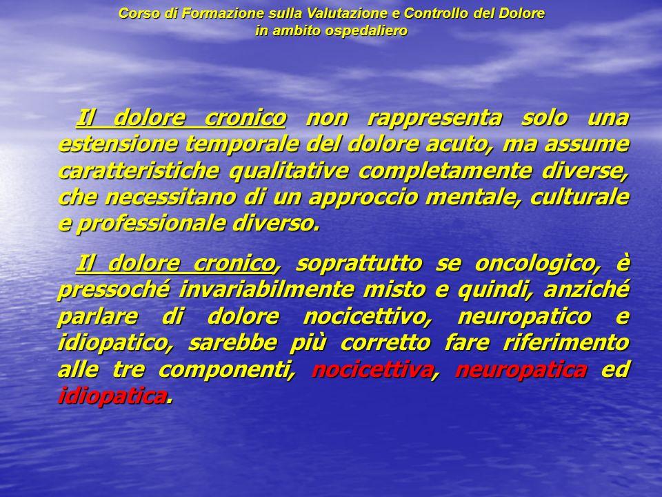 Il dolore cronico non rappresenta solo una estensione temporale del dolore acuto, ma assume caratteristiche qualitative completamente diverse, che nec
