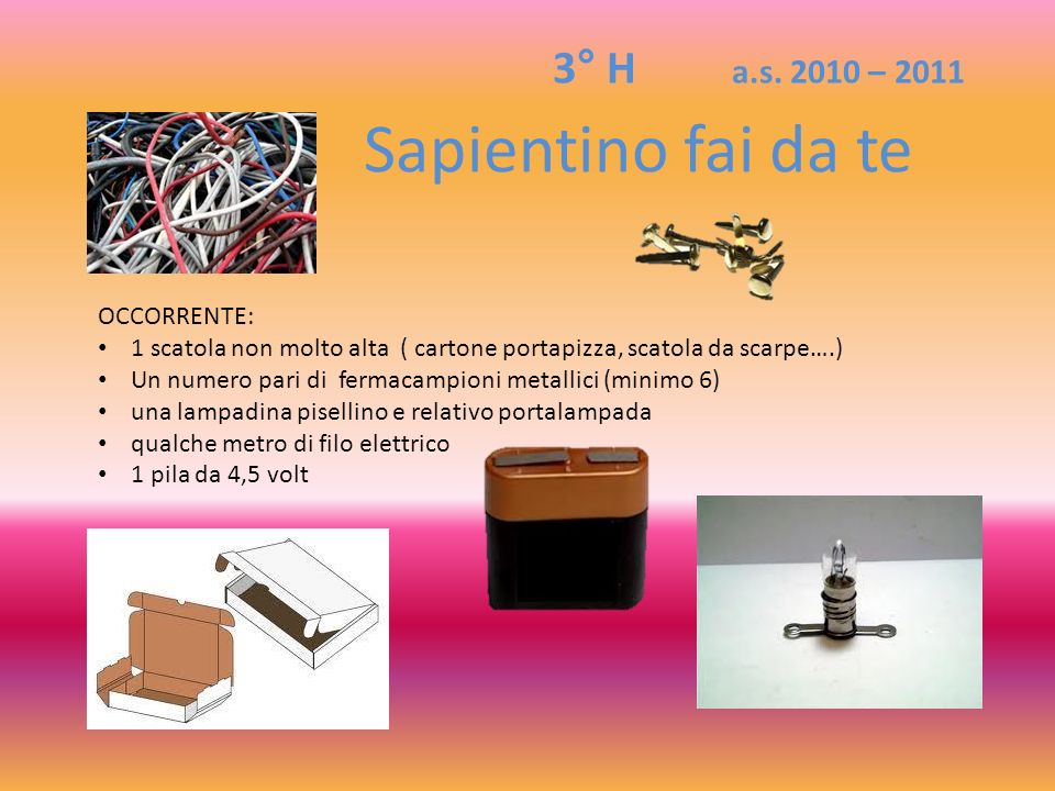 OCCORRENTE: 1 scatola non molto alta ( cartone portapizza, scatola da scarpe….) Un numero pari di fermacampioni metallici (minimo 6) una lampadina pis