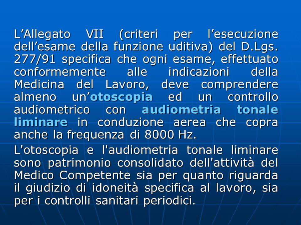 LAllegato VII (criteri per lesecuzione dellesame della funzione uditiva) del D.Lgs. 277/91 specifica che ogni esame, effettuato conformemente alle ind