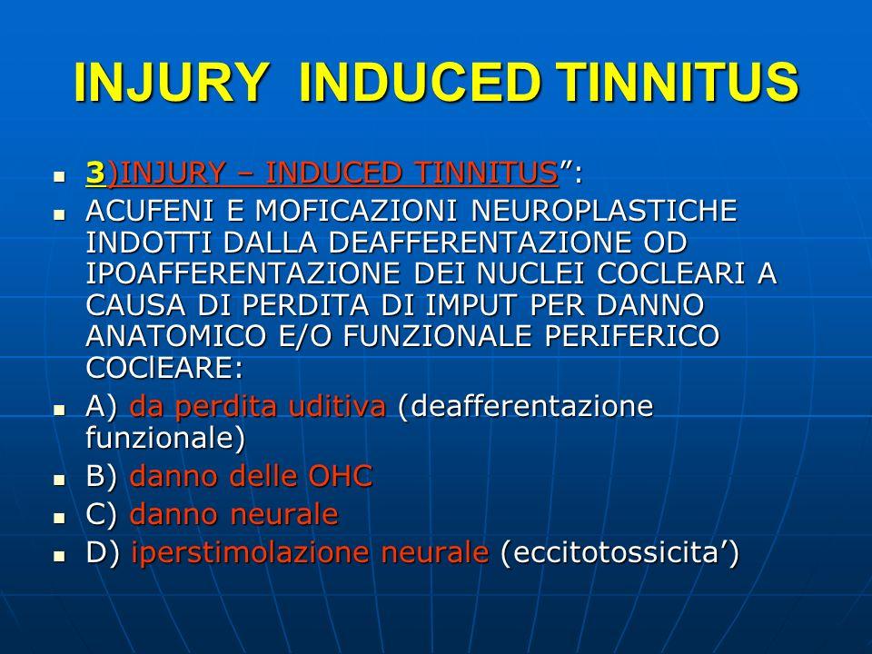 INJURY INDUCED TINNITUS 3)INJURY – INDUCED TINNITUS: 3)INJURY – INDUCED TINNITUS: ACUFENI E MOFICAZIONI NEUROPLASTICHE INDOTTI DALLA DEAFFERENTAZIONE
