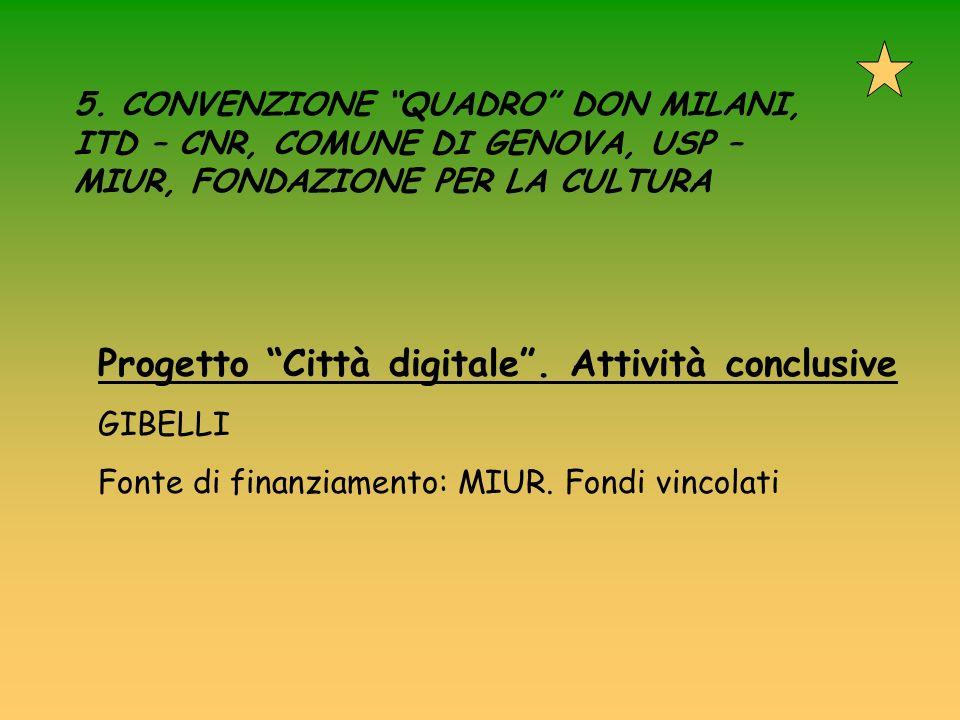 5. CONVENZIONE QUADRO DON MILANI, ITD – CNR, COMUNE DI GENOVA, USP – MIUR, FONDAZIONE PER LA CULTURA Progetto Città digitale. Attività conclusive GIBE