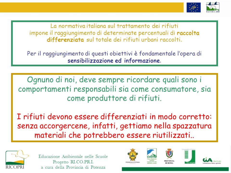 Educazione Ambientale nelle Scuole Progetto RI.CO.PR.I. a cura della Provincia di Potenza La normativa italiana sul trattamento dei rifiuti impone il