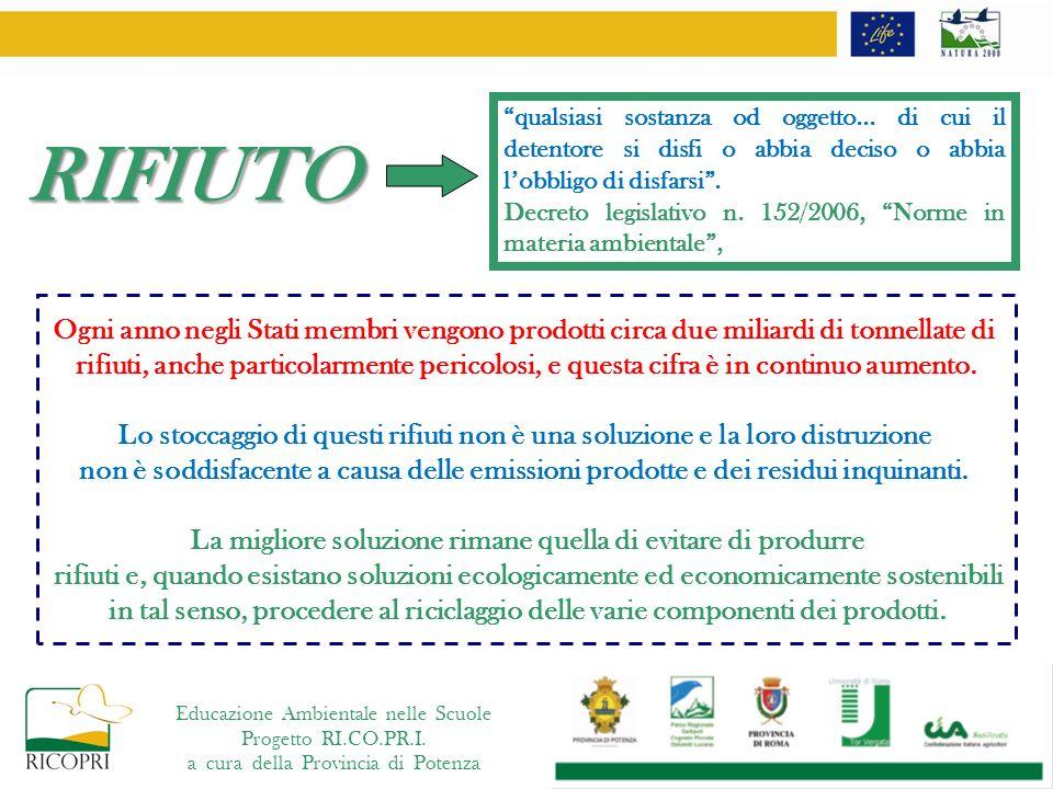 Educazione Ambientale nelle Scuole Progetto RI.CO.PR.I. a cura della Provincia di Potenza RIFIUTO Ogni anno negli Stati membri vengono prodotti circa
